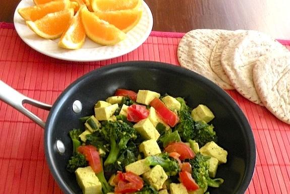 Broccoli and spinach veggie scrambled tofu recipe