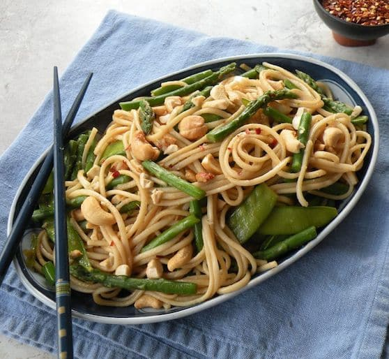 Udon noodles with asparagus and snow peas recipe