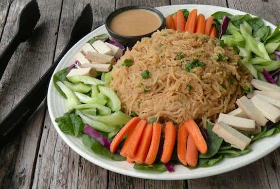 Asian noodle platter with peanut sauce