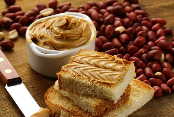 peanut butter with fresh bread