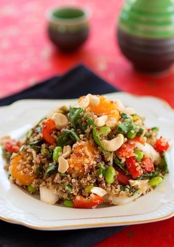 Quinoa with edamame and oranges