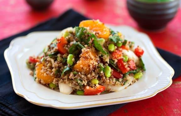 Quinoa with edamame and oranges pilaf