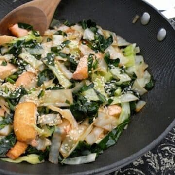Stir-fried-greens with tofu and napa cabbage
