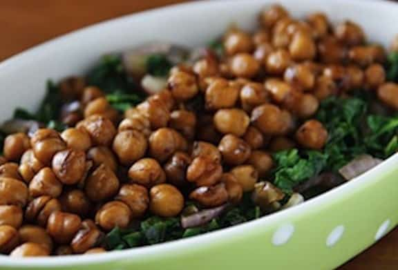 Balsamic chickpeas with mustard greens by Susan Voisin