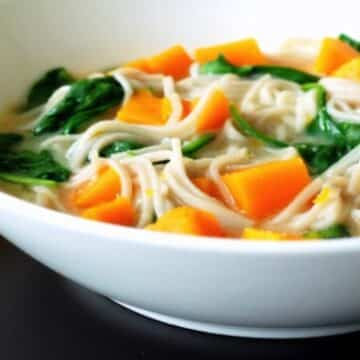 Butternut Squash, spinach, and miso soup