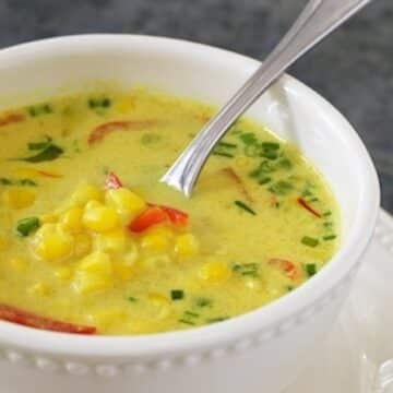 Nearly-Instant Thai Coconut-Corn Soup from Vegan Express