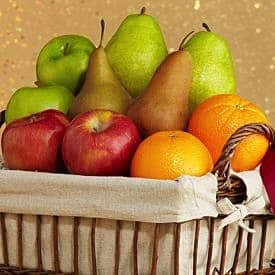 fruit basket of apples, oranges, pears