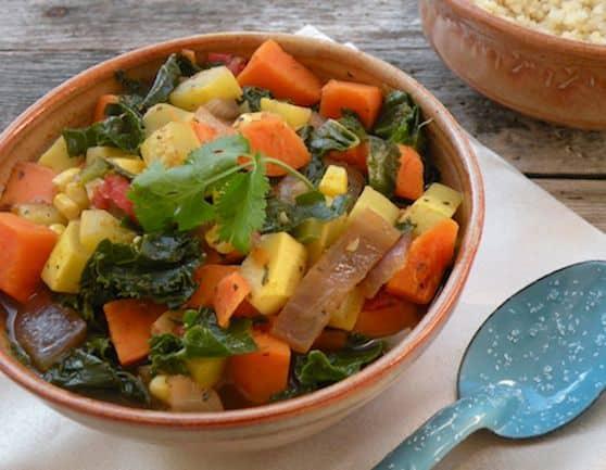 Kale, Yellow Squash, and Sweet Potato Stew recipe