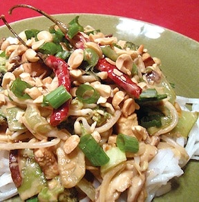 vegan pad thai with spicy peanut sauce by dianne wenz from veggiegirl