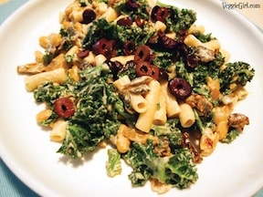pasta greens and beans with creamy cashew sauce by dianne wenz from veggiegirl