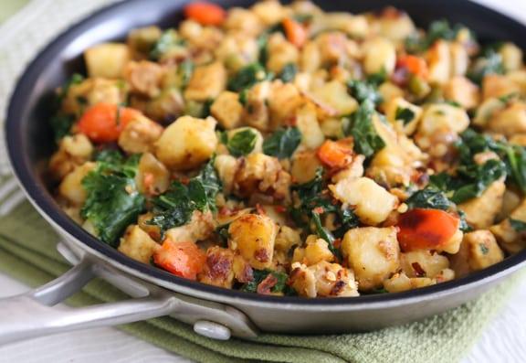 Skillet Potato Tempeh hash with kale