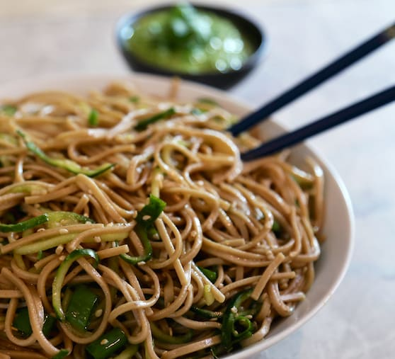 Cold Soba Noodle and Cucumber Salad