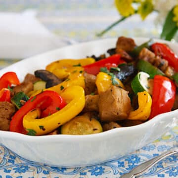 Roasted Seitan with Peppers and Mushrooms