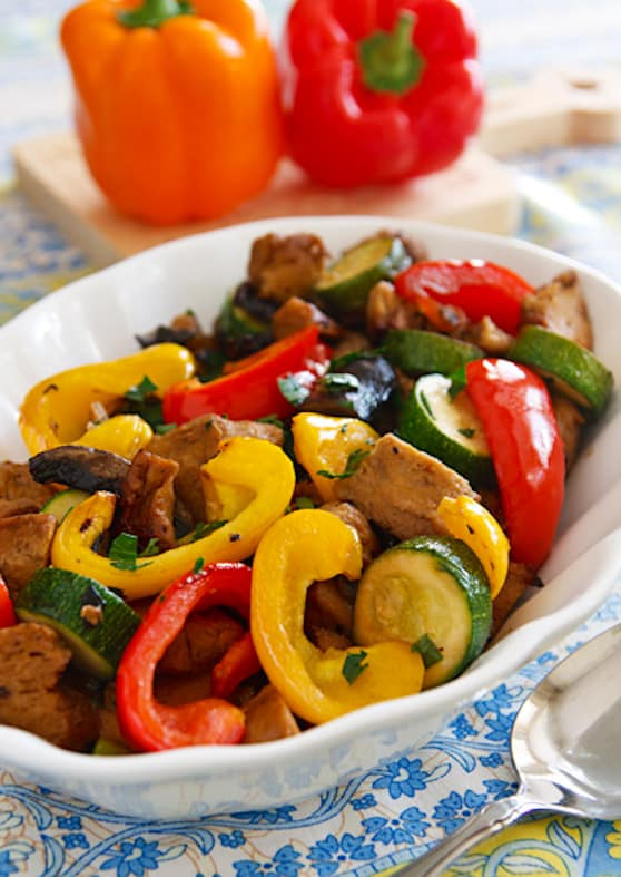 Roasted Seitan with Peppers and Mushrooms recipe