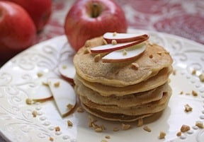 Apple almond butter pancakes by robin robertson from nut butter universe