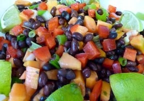 black bean and papaya salad Sharon Nazarian from Big City Vegan