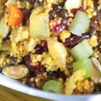 Black lentil celery couscous pilaf