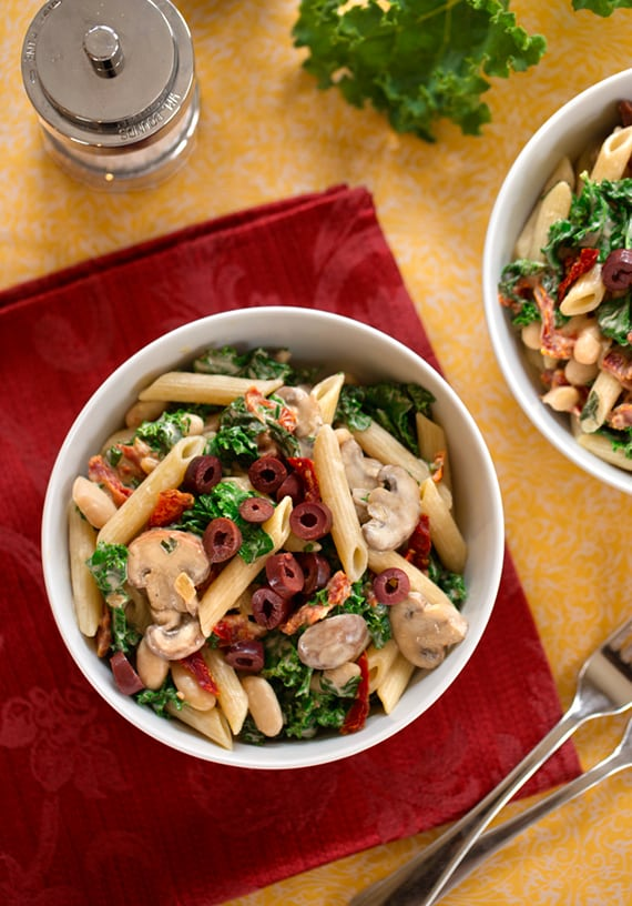 Pasta, Beans, and Greens with Creamy Cashew Sauce