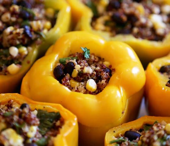 Quinoa, corn, and black bean stuffed peppers