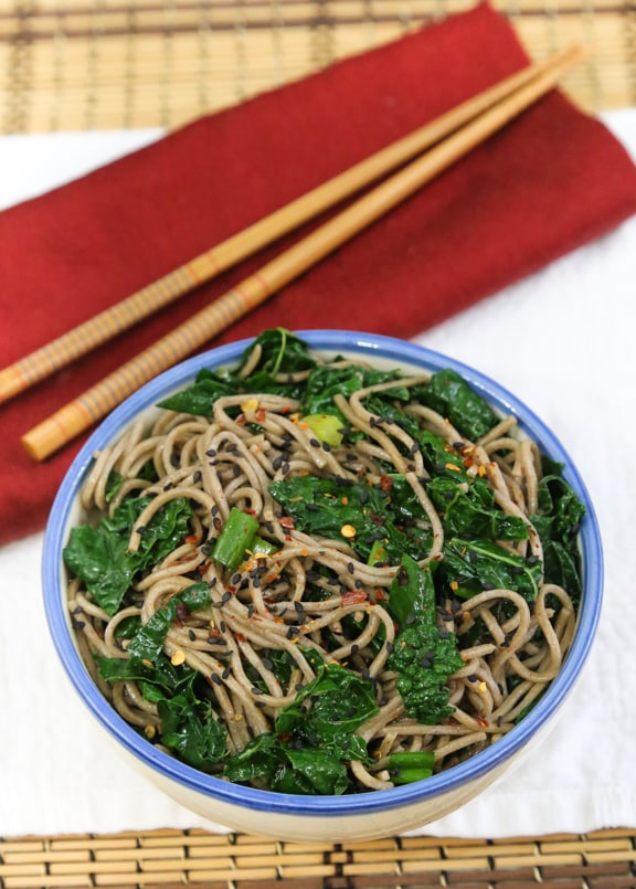 Simple sesame ginger soba with kale or collards