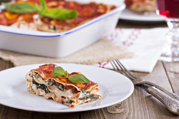Vegan lasagna with tofu and spinach