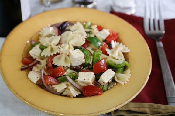 Greek flavored pasta salad