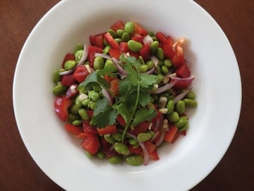 Edamame Red Pepper Salad by Vasanthi Raghavan from MixedandTossed blog