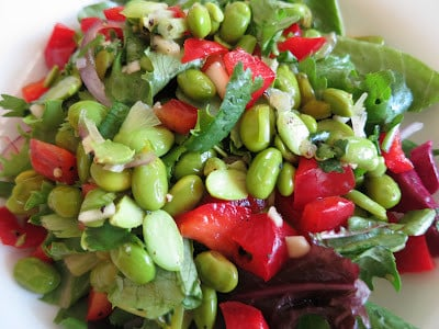 Edamame Red Pepper Salad from Vasanthi Raghavan MixedandTossed blog