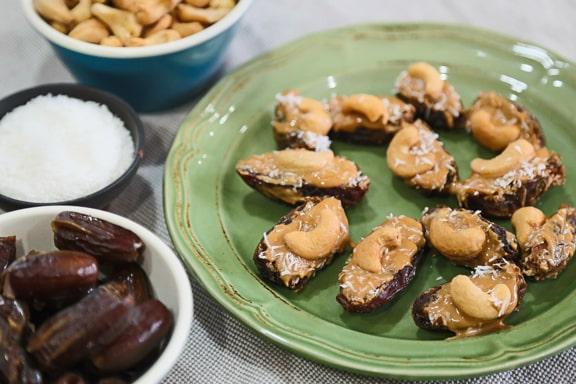 cashew-stuffed dates