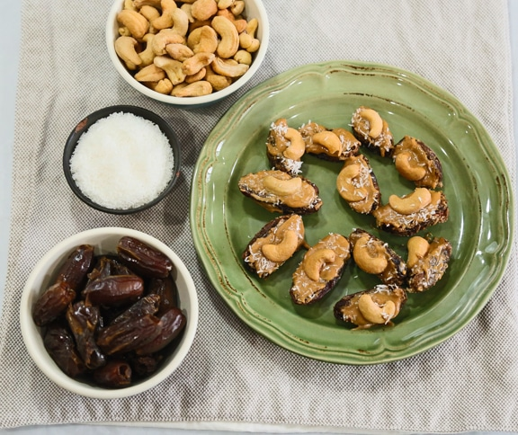 cashew-stuffed dates snack