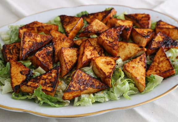 Spicy Tofu Triangles on a Cool Bed of Lettuce recipe
