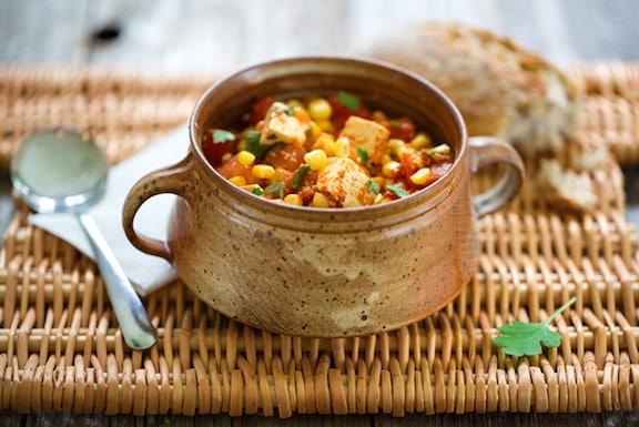 Stewed tofu with fresh corn and tomatoes
