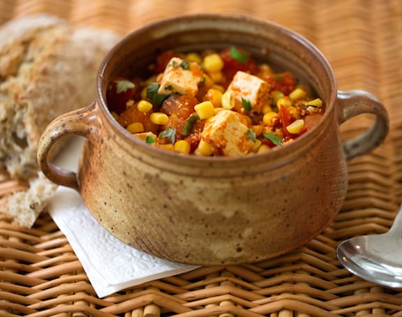 Summer Stew of tofu with corn and tomatoes