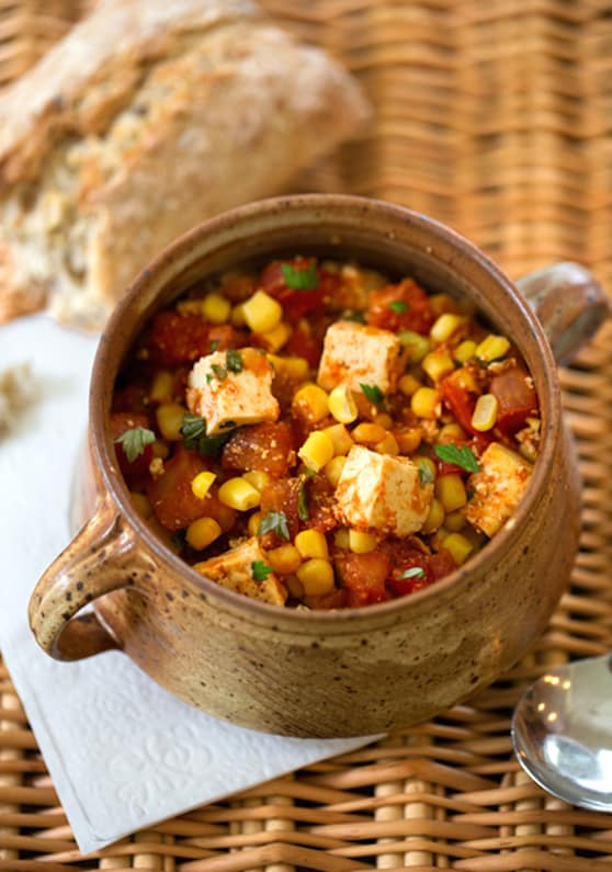 Stewed tofu with fresh summer corn and tomatoes3