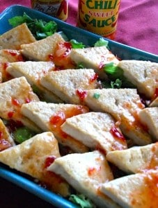 spicy tofu triangles