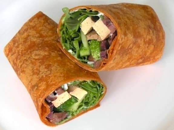 Arugula, tofu, and olive wraps