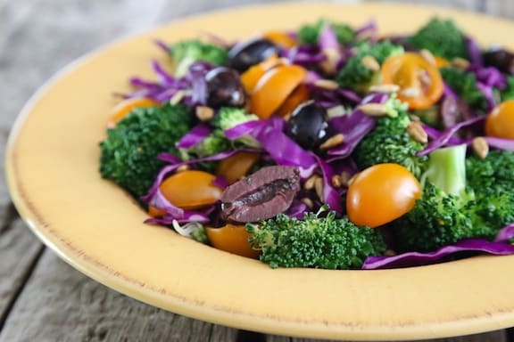 Broccoli and red cabbage salad1