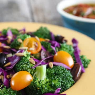 Broccoli and red cabbage salad with cherry tomatoes
