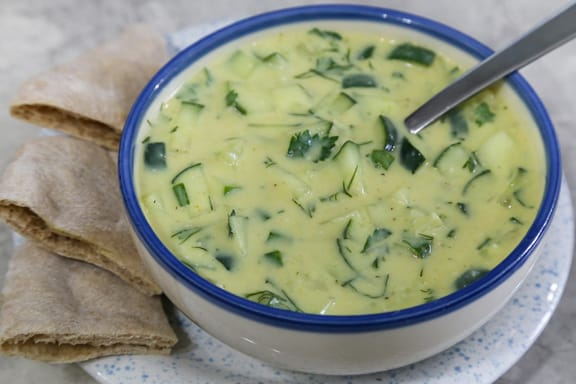 Cold curried cucumber soup