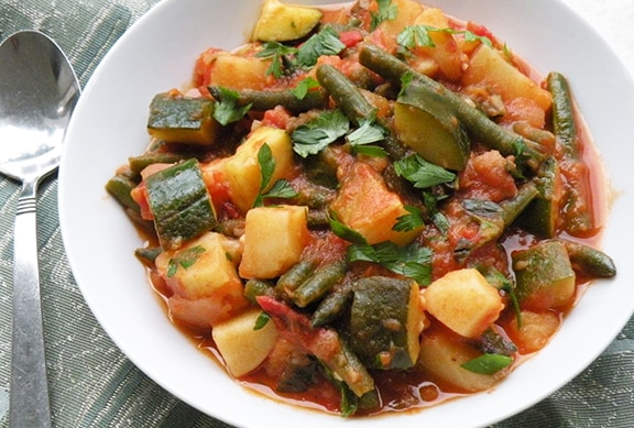 Greek potato, zucchini, and green bean stew