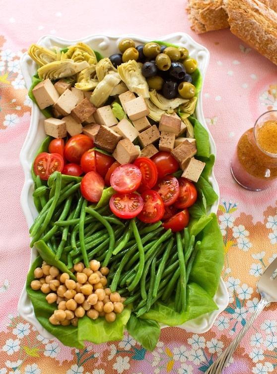 Vegan Nicoise-style salad