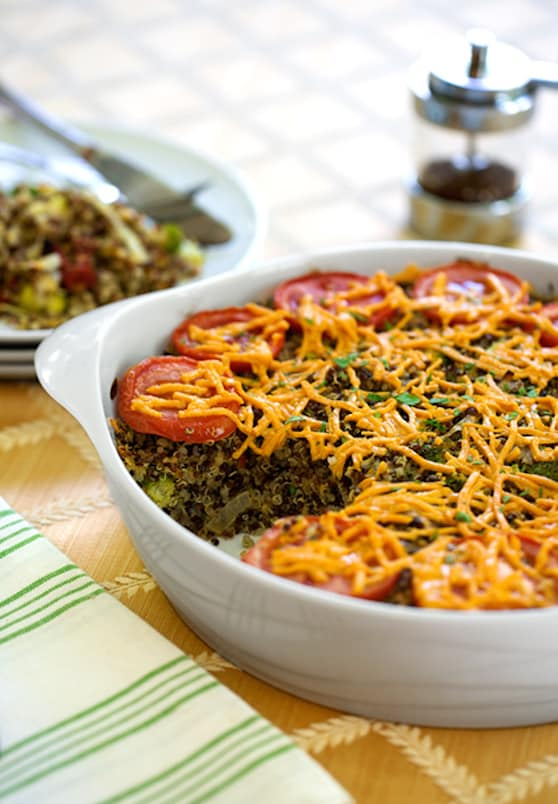 Quinoa, Broccoli, and Vegan Cheese casserole