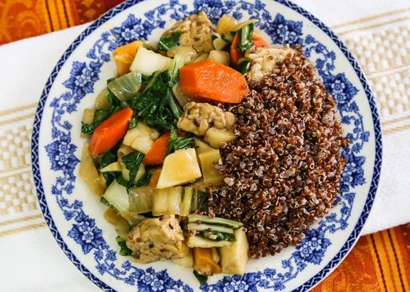 Tempeh Teriyaki stir-fry with fall vegetables