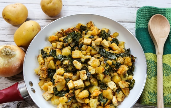Tofu & Potato hash browns in skillet