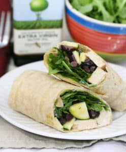 Tofu, arugula, and olive wrap