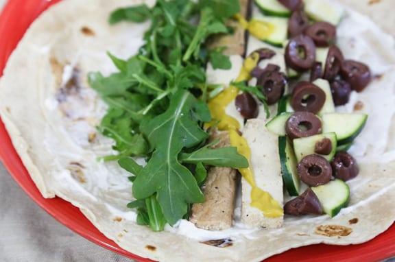 Tofu, arugula, and olive wrap