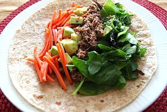 Asian flavored quinoa wraps recipe