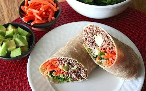 Asian flavored quinoa wraps