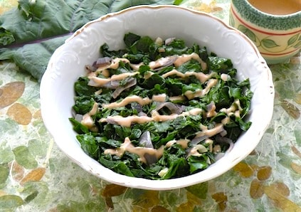 kale with tahini sauce