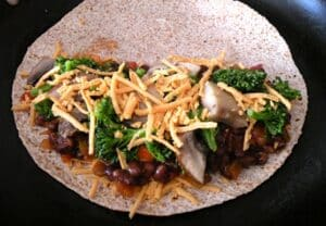 Vegan quesadillas with black bean, broccoli, and portobella how-to